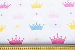 Хлопковая ткань с разноцветными коронами (№102), фото 2