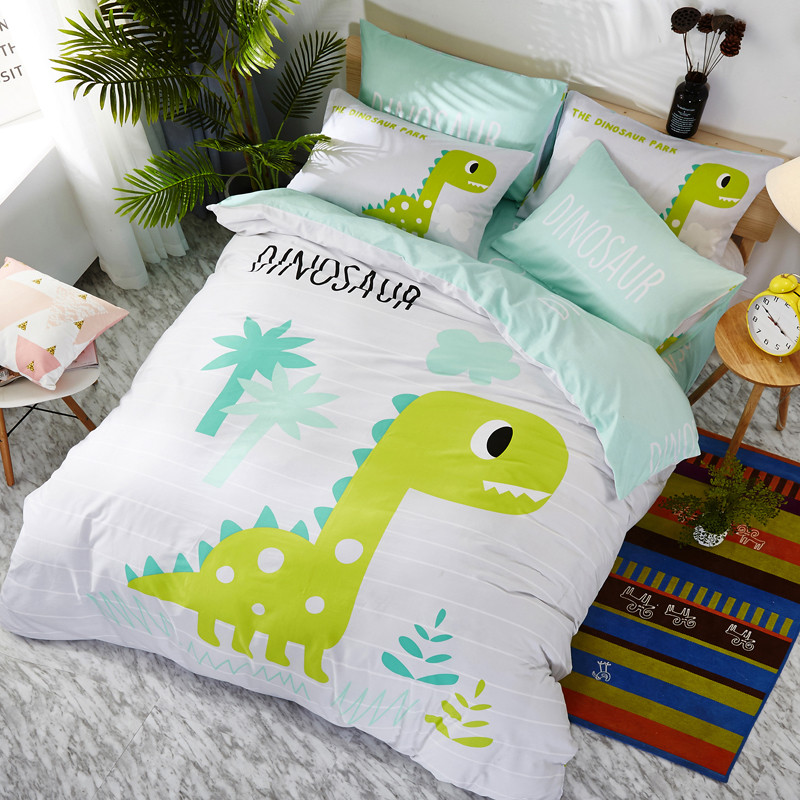 Комплект хлопкового постельного белья для мальчика Зеленый Динозавр (двуспальный-евро)