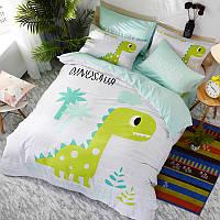Комплект хлопкового постельного белья для мальчика Зеленый Динозавр (двуспальный-евро) , фото 1