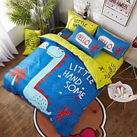 Комплект хлопкового постельного белья для мальчика  Динозавр (двуспальный-евро) , фото 1