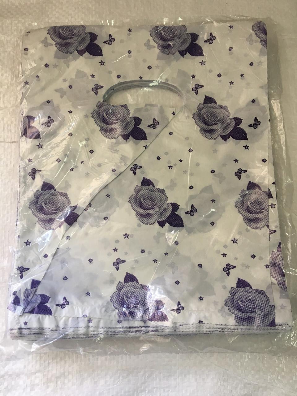 Полиэтиленовый пакет с прорезной ручкой ''Роза'' 155*200 мм, 100 шт