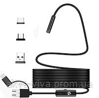 Эндоскоп 3 в 1 microusb / usb / type C. Диаметр 5,5 мм. (К31-500) Длина кабеля 3,5 метра