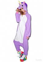 Пижама женская зимняя теплая Кигуруми Единорог (фиолетовый) L Kigurumi