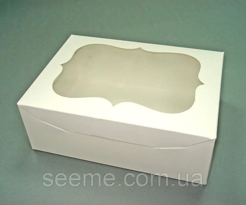 Коробка с окошком для 6 капкейков, 250х180х90 мм.