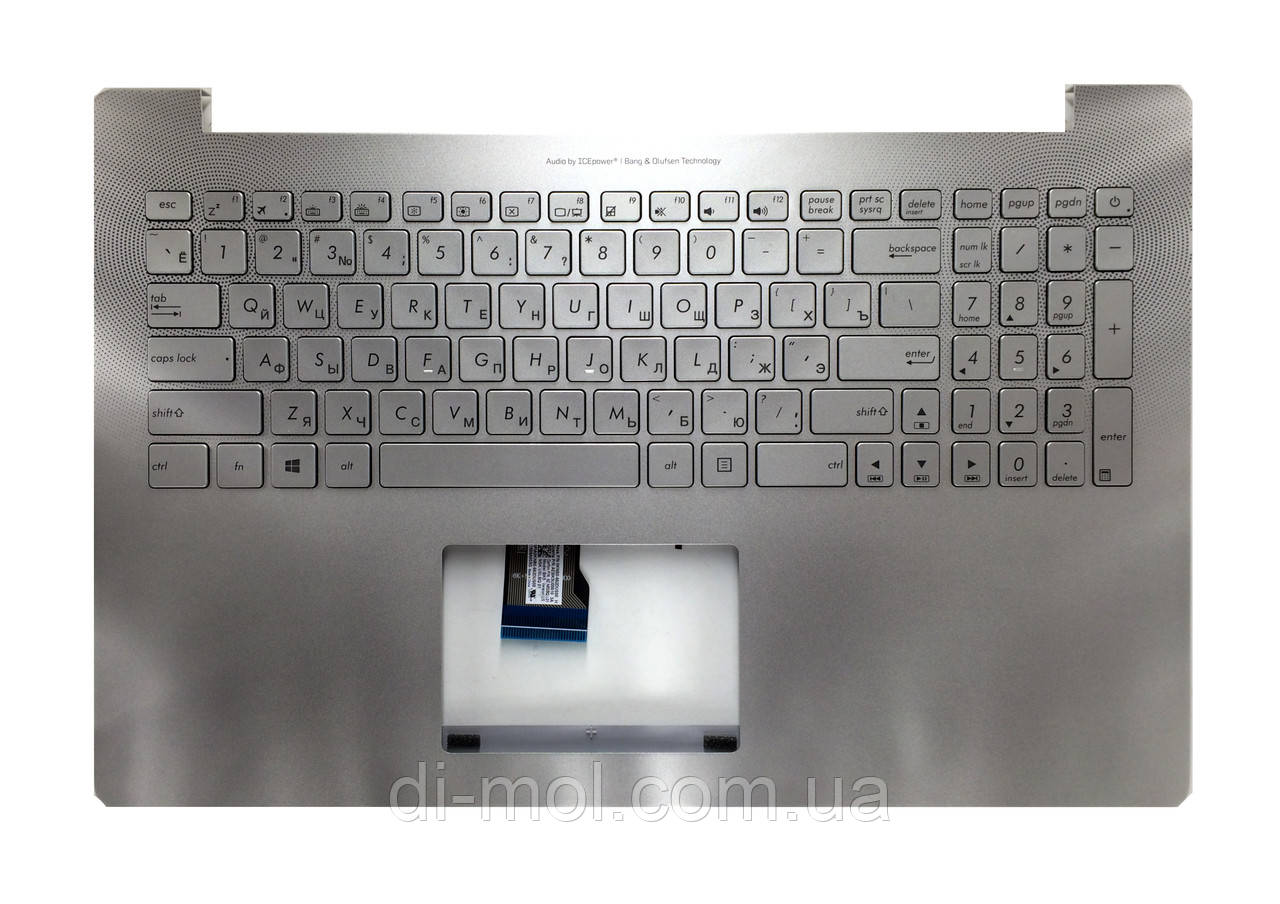 Оригинальная клавиатура для ноутбука Asus N501, N501J, N501JW, N501V, N501VW series, ru, silver, подсветка