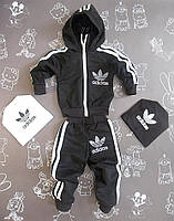 Детский черный спортивный костюм в стиле Adidas для мальчика на рост 74-90 см