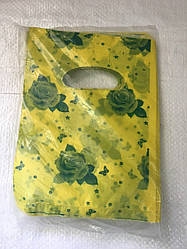 Полиэтиленовый пакет с прорезной ручкой ''Роза желтая'' 200*240 мм, 100 шт