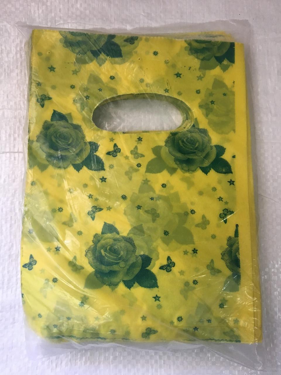 Полиэтиленовый пакет с прорезной ручкой ''Роза желтая'' 155*200 мм, 100 шт