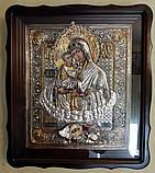 Икона в серебряной ризе Почаевская Божья Матерь 40*35 см, фото 2