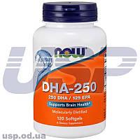 NOW DHA-250/125 EPA докозагексаеновая кислота рыбий жир омега 3