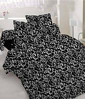 """Полуторный комплект постельного белья """"Белый вензель на чёрном"""""""