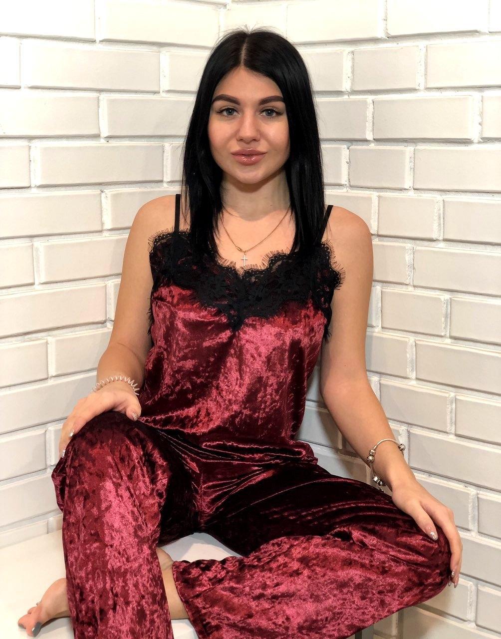 Шикарная бордовая велюровая брючная пижама с кружевом