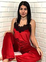 Красная велюровая пижама майка и штаны на 42-44