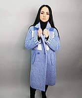 dcaff13b899 Пальто женское весеннее в фиалковом и сером цвете из пушистого трикотажа