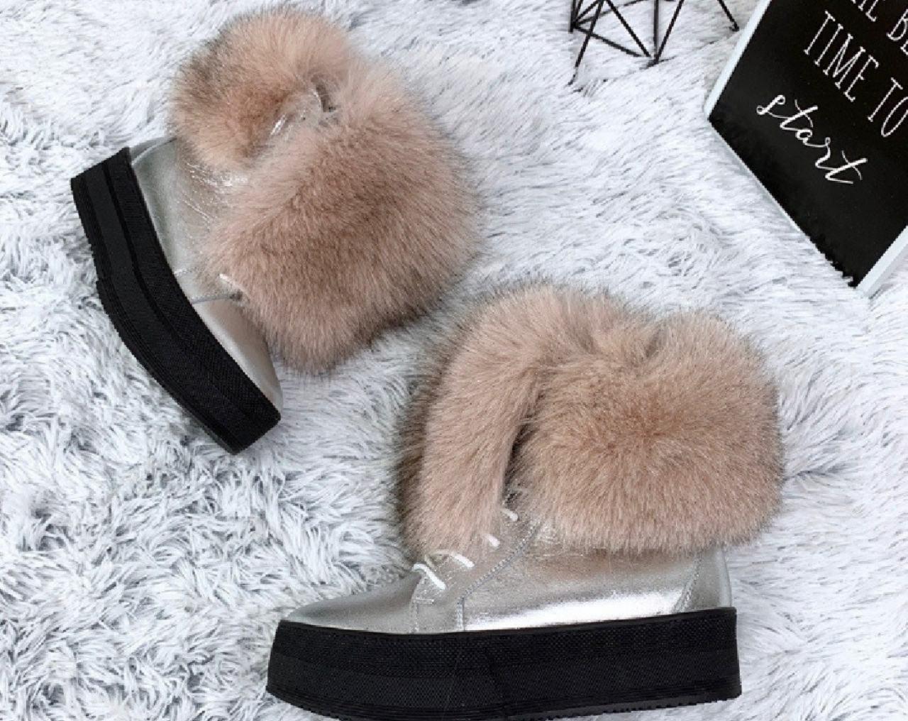 0cd314faa Зимние ботинки серебро с натуральным пудровым мехом ПЕСЦА натуральная кожа