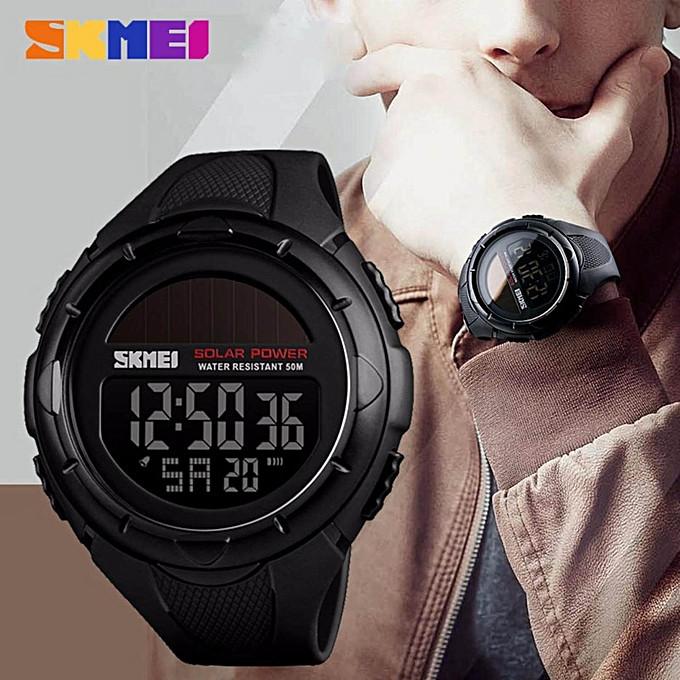 Skmei 1405 solar черные мужские часы  на солнечной батарее