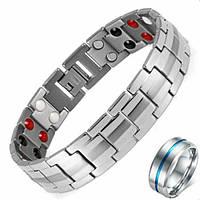 Набор мужской титановый браслет и кольцо титановое
