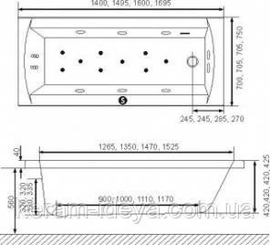 Ванна акриловая Exsellent Aquaria 160х70см WAEX.AQU16WH, фото 2