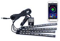 LED подсветка салона с управлением со смартфона, 4 панели + светомузыка