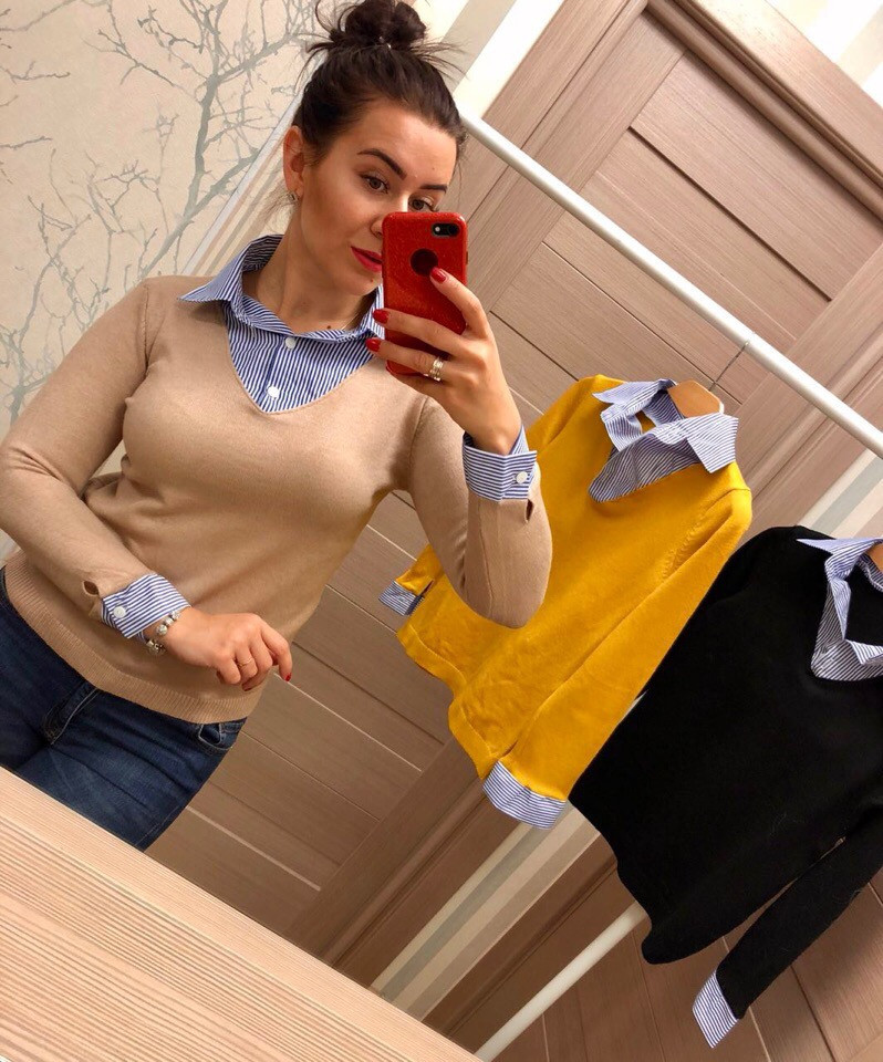 Женский оригинальный свитер РАЗНЫЕ ЦВЕТА(Фабричный Китай ) Код 033