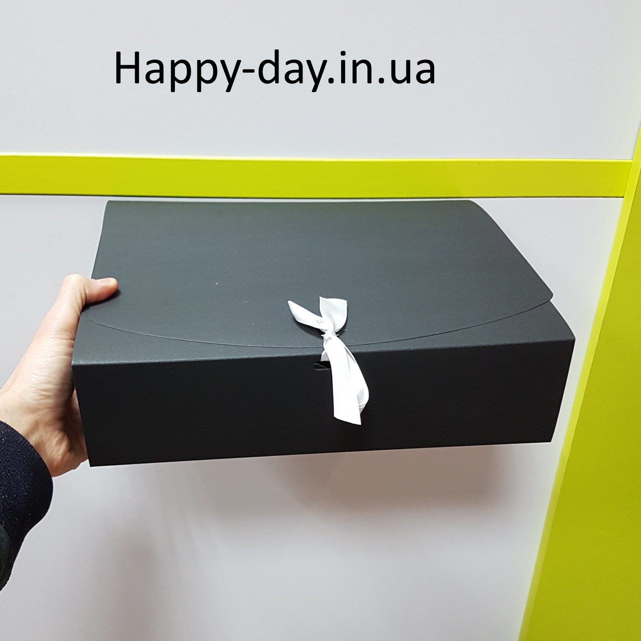 Коробка подарочная складная большая черная