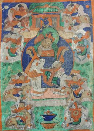 Картина Кубера Бог Богатства Буддизм 19 век, фото 2