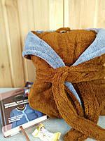 Халат махровый мужской длинный коричневого цвета с капюшоном и карманами