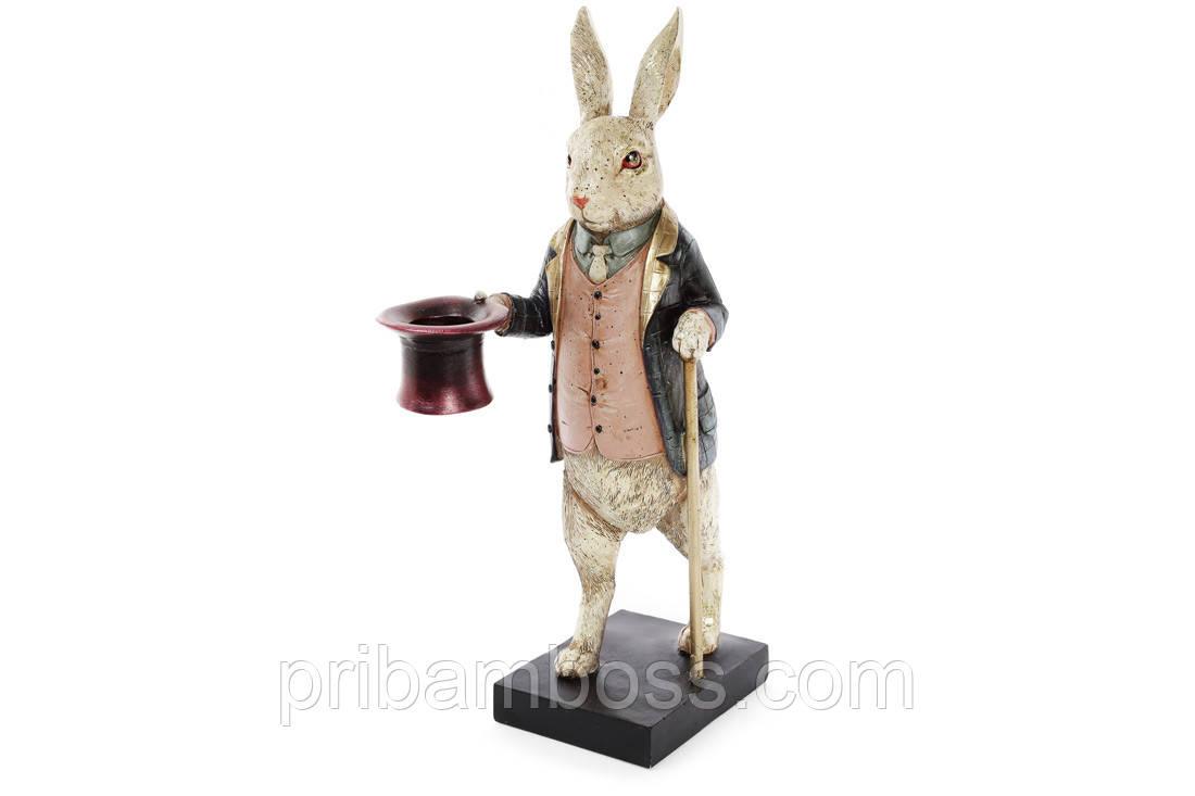 Декоративная фигура-подсвечник Белый Кролик 34см