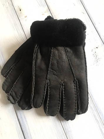 Мужские зимние перчатки дубленка, фото 2