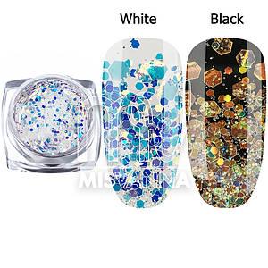 Брокат для декора ногтей Starlet Professional DT-04, белый с голубым переливом