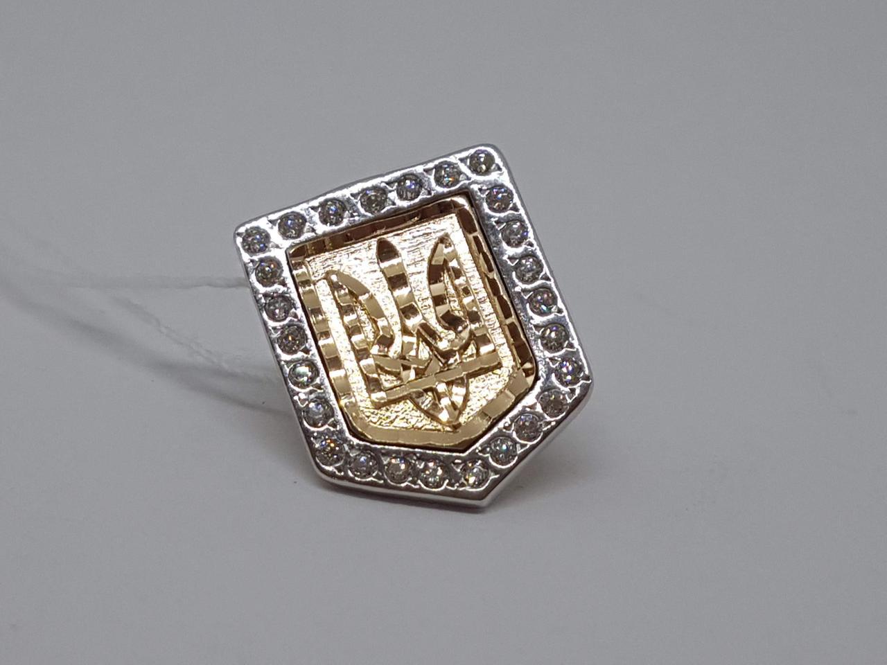 Золотой значок Трезубец с фианитами. Артикул 021001