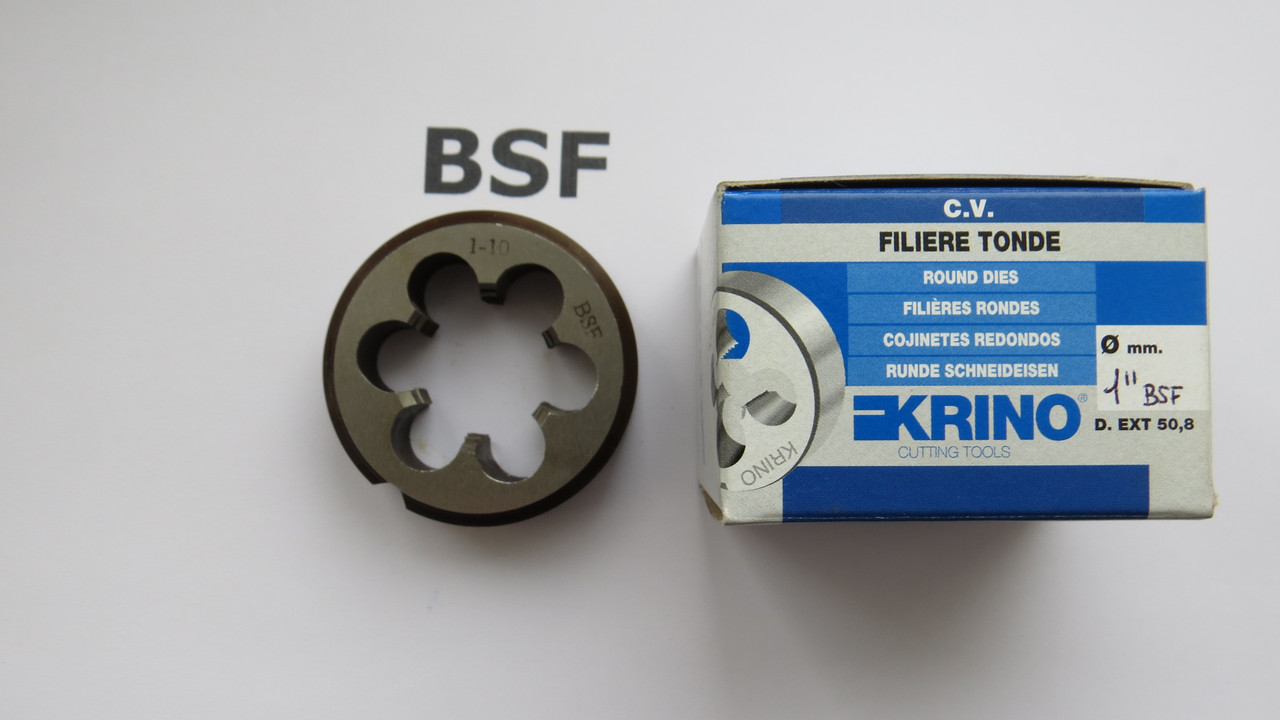 Плашка дюймовая BSF 1-10 ниток на дюйм KRINO