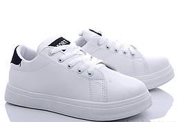 Женские кроссовки белого цвета с чёрной вставкой на низком ходу 35-39р. 181223391
