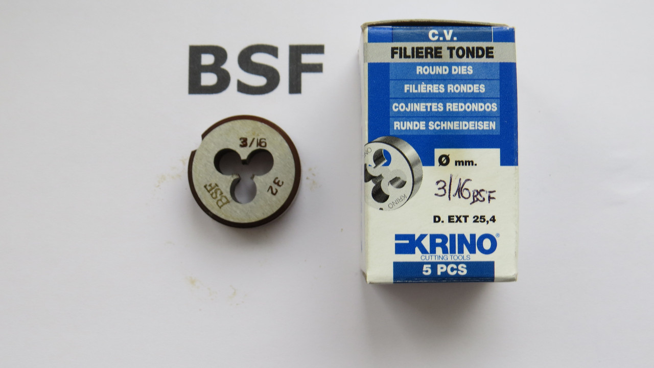 Плашка дюймовая BSF 3\16 32 ниток на дюйм KRINO