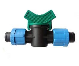 Кран з'єднувальний прохідний для краплинної стрічки 16 мм