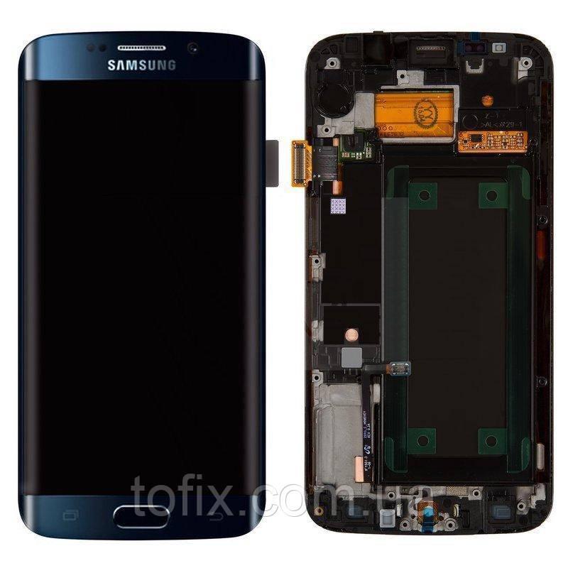 Дисплейный модуль (экран) для Samsung Galaxy S6 EDGE G925, с рамкой, синий, оригинал #GH97-17162A
