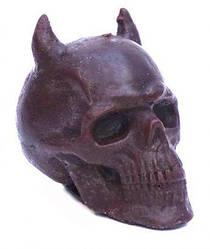 Свеча восковая череп с рогами