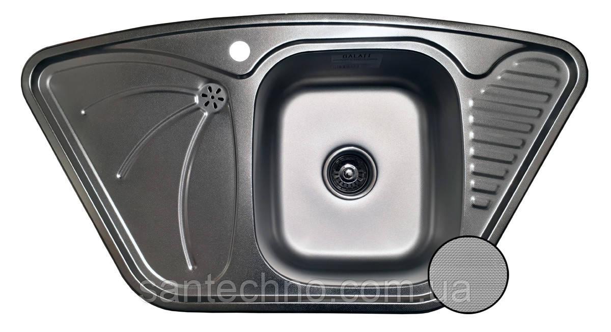 Кутова кухонна мийка з нержавіючої сталі Galati Meduza Nova Textura