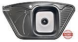 Кутова кухонна мийка з нержавіючої сталі Galati Meduza Nova Textura, фото 2