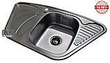 Кутова кухонна мийка з нержавіючої сталі Galati Meduza Nova Textura, фото 4