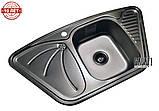 Кутова кухонна мийка з нержавіючої сталі Galati Meduza Nova Textura, фото 5