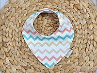 Слюнявчики треугольники для малышей, цветной зигзаг, фото 1