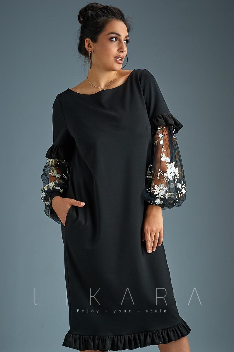 529ed4e5039dcba Роскошное черное платье с гипюровыми рукавами с 50 по 56 размер -  Интернет-магазин женской