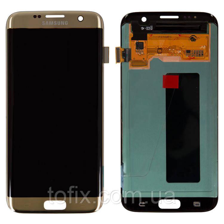 Дисплейный модуль (экран и сенсор) для Samsung Galaxy S7 EDGE G935, золотистый, оригинал