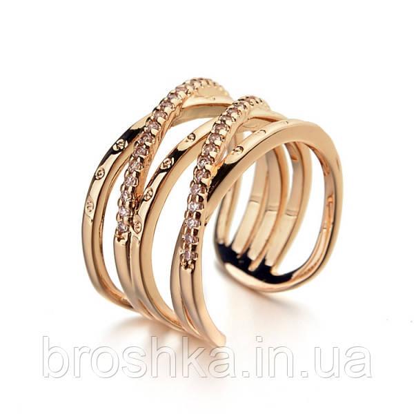 Широкое открытое позолоченное кольцо бижутерия