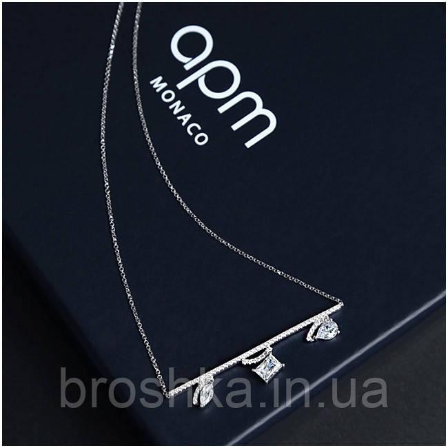 Подвеска с асимметричными кристаллами на цепочке бижутерия