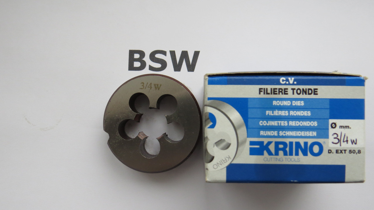 Плашка дюймовая BSW 3\4 10 ниток на дюйм KRINO