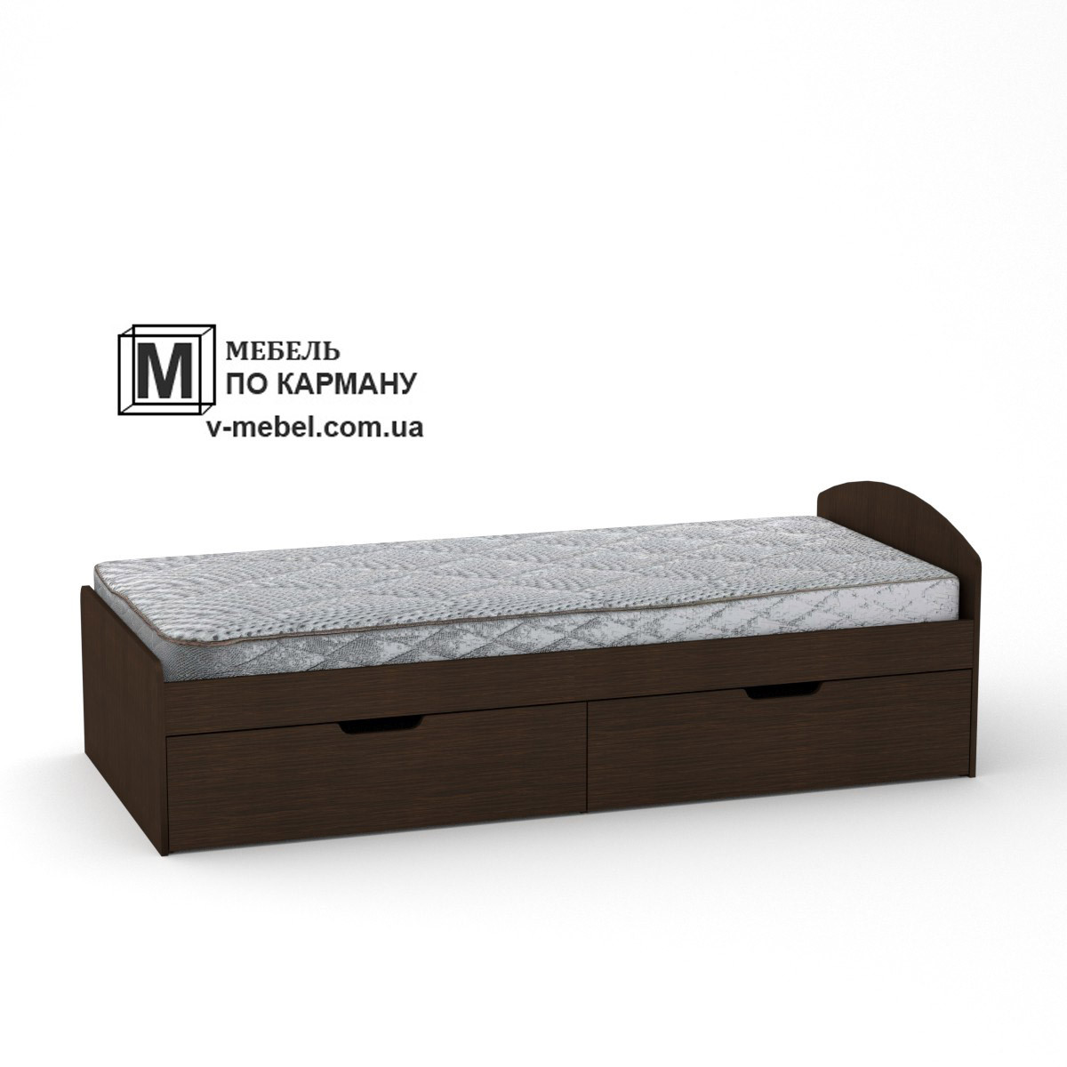 Односпальная кровать с двумя ящиками на колесиках 90+2