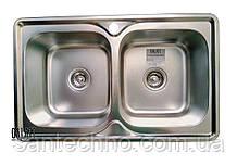 Прямоугольная кухонная мойка из нержавеющей стали  на две чаши Galati Fifika 2C Textura