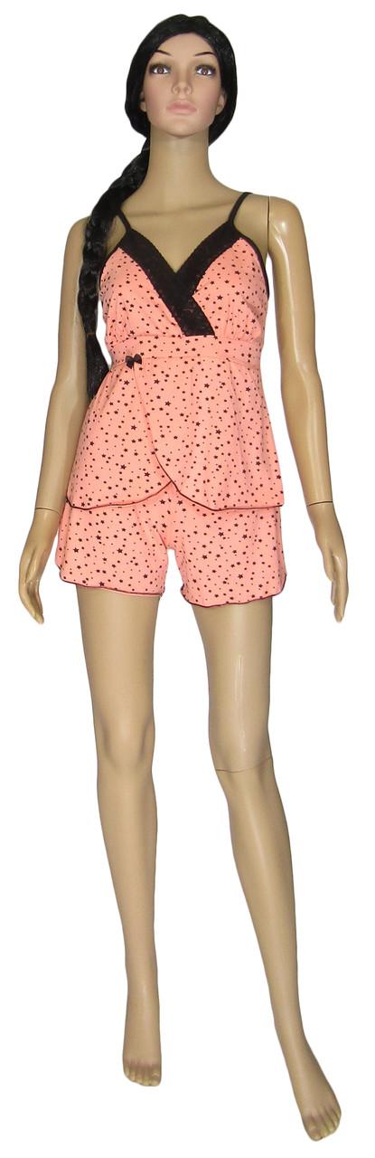 Пижама женская / майка и шорты 19002 Charm Pink стрейч-коттон / кружево, р.р.44-54